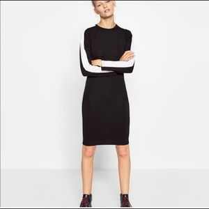 Zara Trafaluc Black & White Long Sleeve Dress
